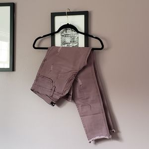 Dusty Mauve Ripped Jeans